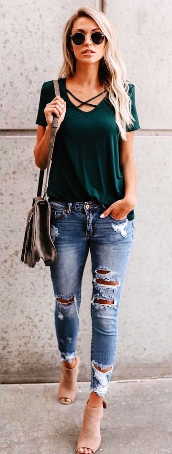 #fall #outfits  women's green shirt, gray leather crossbody bag and denim jeans