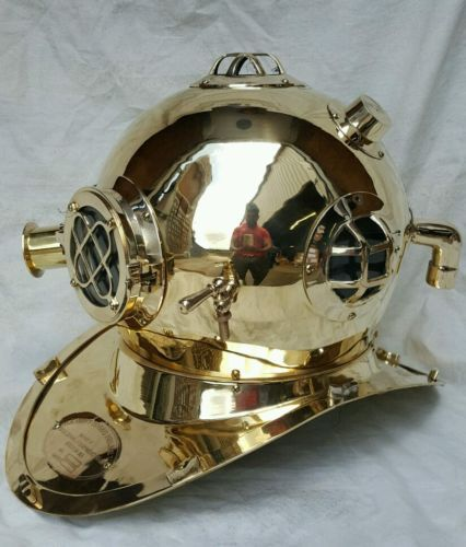 #Antique u s navy mark v #solid  brass diving divers #helmet,  View more on the LINK: http://www.zeppy.io/product/gb/2/172256654632/