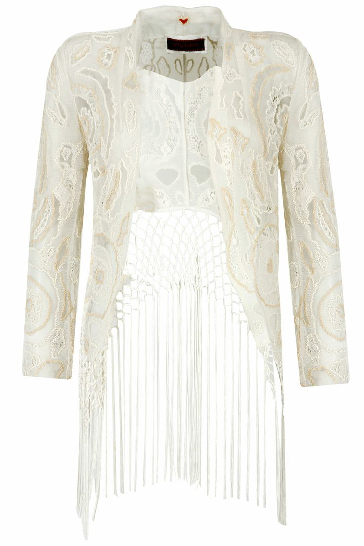 Ecru fringe hem embroidered net jacket from NOT SO SERIOUS BY PALLAVI MOHAN. Shop now only at www.perniaspopupshop.com! #perniaspopupshop #pallavimohan #shopnow #fashion #beautiful #trendy #love #jacket #designer #happyshopping