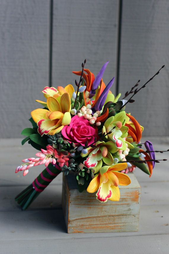 Cymbidium Orchids Tropical Bouquet Colorful by AinursFlorals
