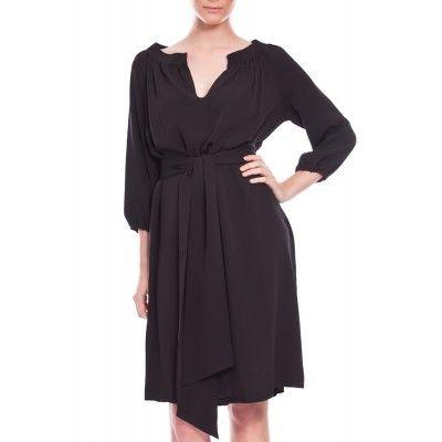 Greta - Hilla Silk Dress Black - Kotyr.com