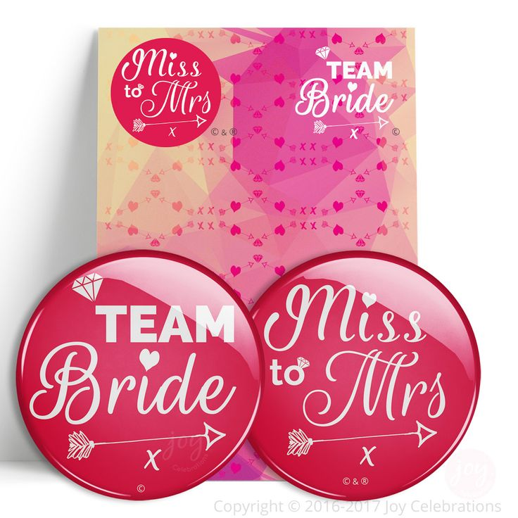 Miss To Mrs & Team Bride Hen Do Party Badges – Token Gift for Bride To Be or Multi-Packs for a party.    #TeamBride #MissToMrs #Hen #Bride #HenDo #HenParty #BrideToBe #Engaged #Engagement #GettingMarried #Marriage #Wedding #JoyCelebrations