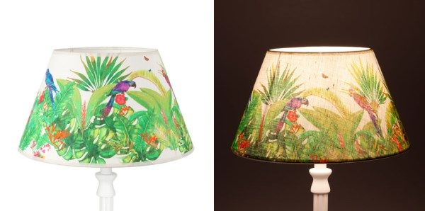 tropical+lamp+shades   Tropical lampshades with a parrot motif