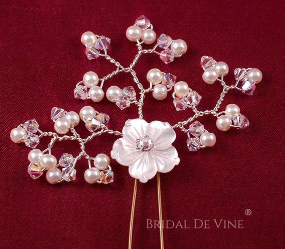 Pretty Delicate Flower Spray Bridal Hair Pins by BridalDeVine