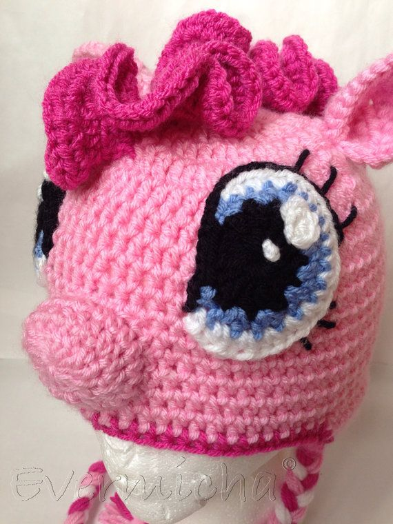 Pinkie Pie My Little Pony Crochet Earflap Hat by Evermicha on Etsy, $35.00
