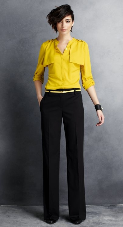 """I love the side swept short do. The color of this """"trench"""" shirt is stunning with black, but not so sure about those boob flaps."""