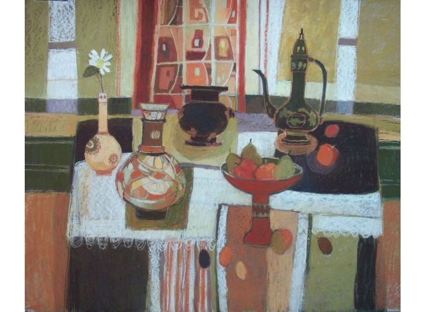 Moira Huntly Interior with Still Life Mall Galleries