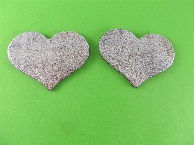 Leather silver/gold hearts 55mm(2 pcs) DIY cut leather flowers Craft supplies Jewelry materials Leather pieces