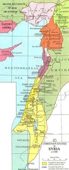 Map of The Crusader States (c.1100) | Jewish Virtual Library