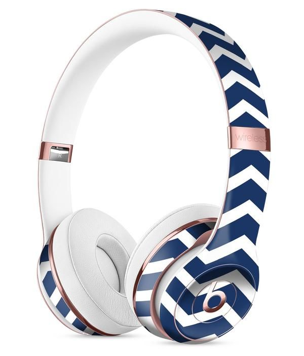White and Navy Chevron Stripes Full-Body Skin Kit for the Beats by Dre Solo 3 Wireless Headphones