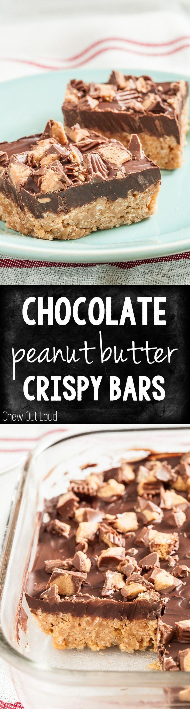 Chocolate Peanut Butter Crispy Bars. Simply irresistible. Easy, make-ahead recipe! #chocolate #peanut butter #dessert