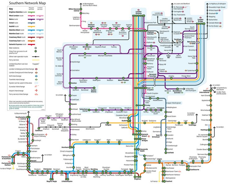 Southern Trains network map