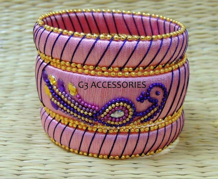 peacock design silk thread bangles