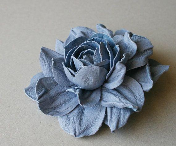 Blue Leather Rose Flower Brooch by leasstudio