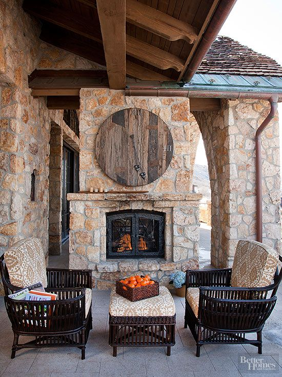 Patio Fireplaces Loving this design Could use different patterned brick in place of wood clock but do like the different material wood and brick