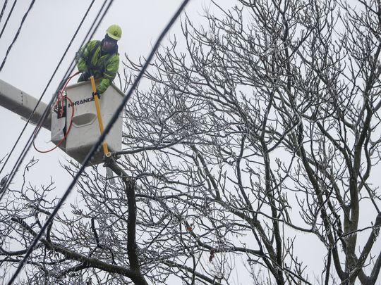 William Blankenship, of Wright Tree Service, cuts tree 1-13-17 ice storm