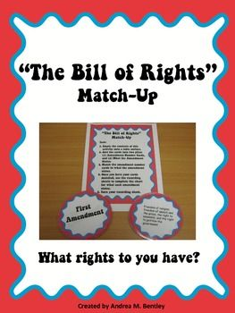 The Bill of Rights Match-Up is a great resource to use when teaching a unit on government. This resource contains ten badges with the amendment numbers, ten badges with what each amendment states, a recording sheet, and a handout for the students to illustrate the meaning of one amendment. ($)
