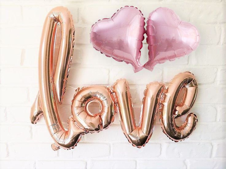 Rose Gold Wedding Decorations, Love Letter Balloon, Photo Booth Props, Engagement Wedding Banner, Bridal Shower, Valentines, Bachelorette by GroupPhoto on Etsy https://www.etsy.com/listing/500004337/rose-gold-wedding-decorations-love