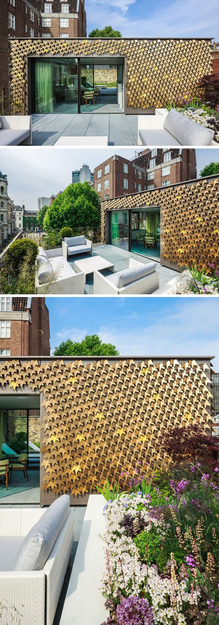 A Creative House Siding Idea - Leaf Inspired Metal Shingles // 4080 folded aluminum leaves cover the facade of this home in London.