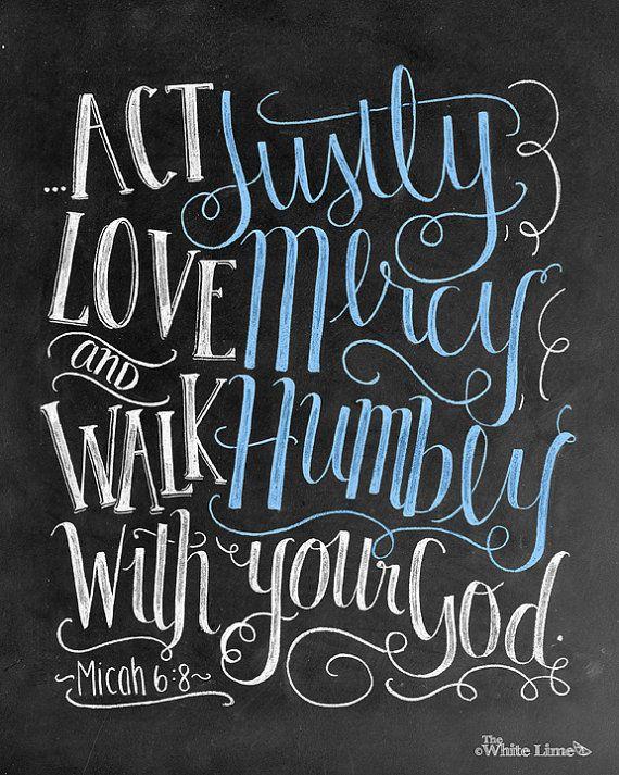 Scripture Art Bible Verse Art Micah 6 8 Scripture by TheWhiteLime
