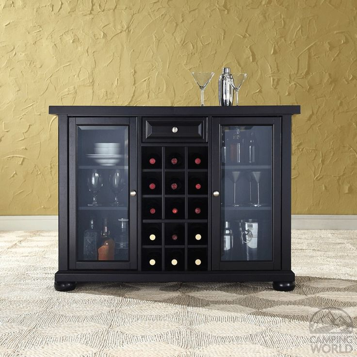 Alexandria Sliding Top Bar Cabinet in Black Finish ...