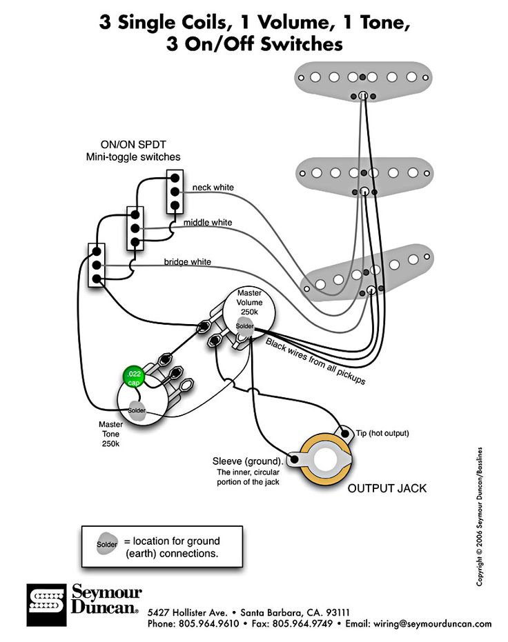 guitar wiring diagrams 1 pickup 1 volume