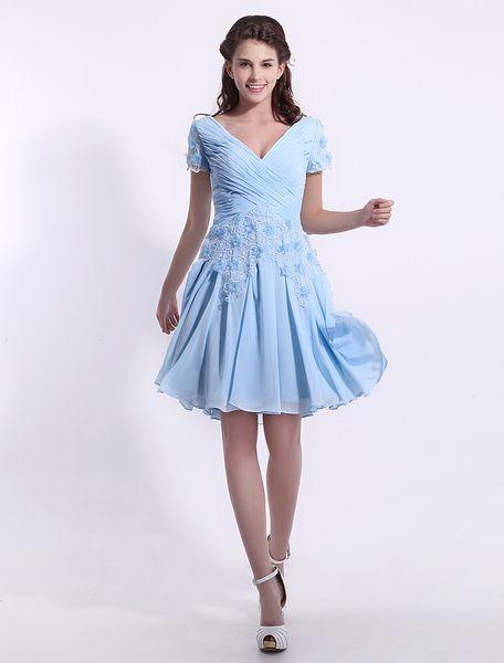 Chiffon Bridesmaid Dress Baby Blue Lace Applique Cocktail Dress V Neck Short Sleeve A Line Pleated Party Dress Milanoo
