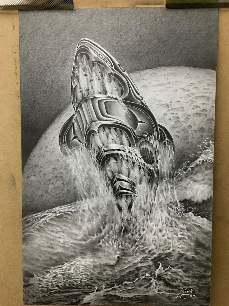 "Here is a drawing i was asked to do. I spent 100hrs developing and drawing .It is 11""x17"". It was to be displayed amongst intricate carvings from all different mediums in alaska. It represents the connection the west coast natives have with the killer whales the ocean and the moon....he asked me to come up with a drawing that would reflect all of these qualities...very unfortunately he past away last winter of a serious illness and never had the chance to display this piece of art...I'm…"