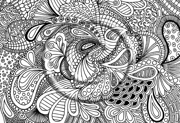 Printable download coloring page hand drawn zentangle for Zendoodle coloring pages