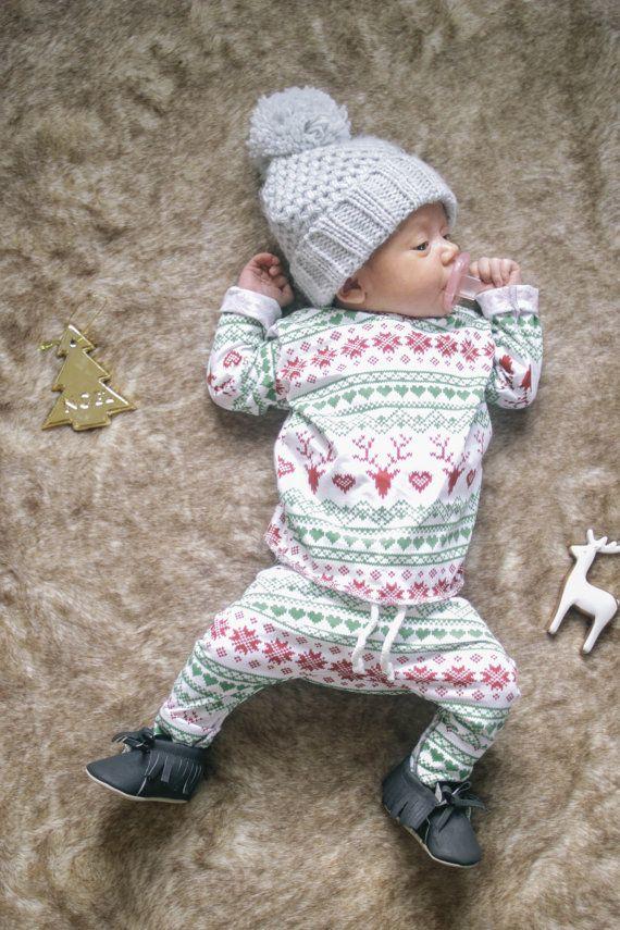 Baby Unisex shirt and pants set, Christmas Set,Harem pants, Long sleeve tee, Modern clothes