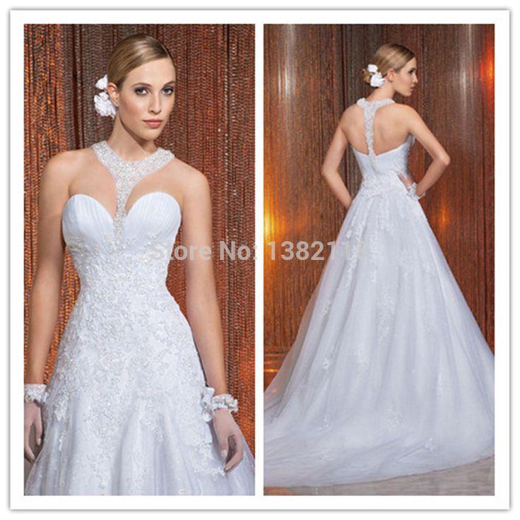 100% высокое качество модный холтер бисером шея белые кружева свадебные платья 2015 сексуальное спинки суд поезд свадебные платья