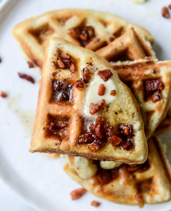 Crispy Bacon Waffles with Bourbon Butter and Blueberry Syrup | How Sweet Eats