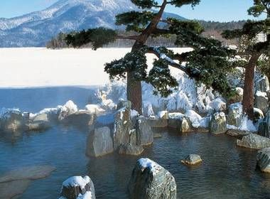 The Akanko Onsen in winter on the shores of Lake Akan
