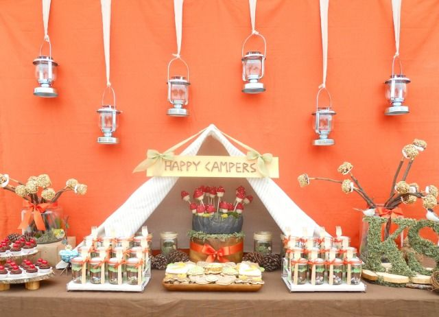 camping themedHappy Trail, Birthday Parties, Theme Parties, Theme Wedding, Parties Ideas, Camps Parties, Camps Theme, Desserts Tables, Happy Campers