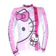 Women Cycling Jersey Anime Hello Kitty Women Cycling Clothing Bike Sportwear Bicycle Cartoon Long Sleeve Cycling Jersey X022(China (Mainland))