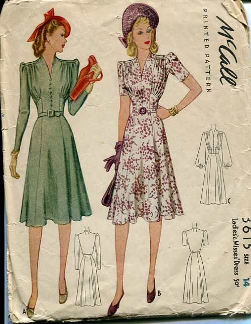 Fantastic 1940s dresses both (McCall 3615). #vintage #sewing patterns