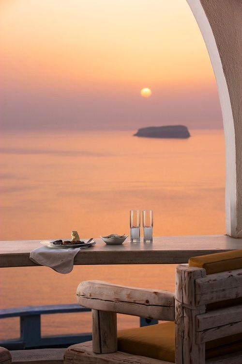 Beautiful Megalochori Sunset, Santorini Greece] ...