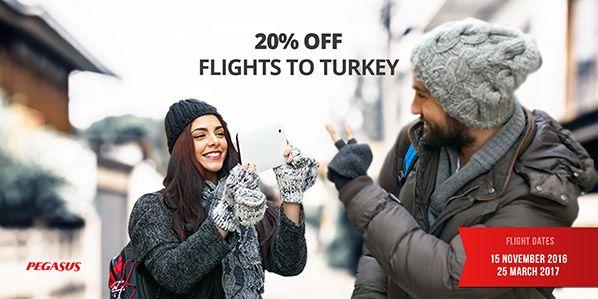 Pegasus offre -20% sur l'ensemble de ses vols vers Istanbul (Turquie) cette semaine, du 03 au 06 octobre, pour tout départ compris entre le 15 novembre 2016 et le 20 mars 2017. Offre spéciale Pegasus Offre Spéciale Pegasus -20% sur l'ensemble de ses vols...