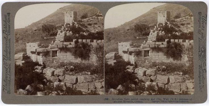 Arcadian Gate, paved roadway and City Wall (N.E.) defenses of ancient Messene, Greece. Ο αρχαιολογικός χώρος. Μεσσήνη, 1903 Underwood & Underwood