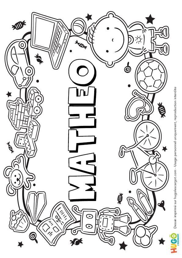 Coloriage De Paques Avec Prenom.Coloriage Et Illustration Du Prenom Matheo Le Prenom Est Ecrit Dans