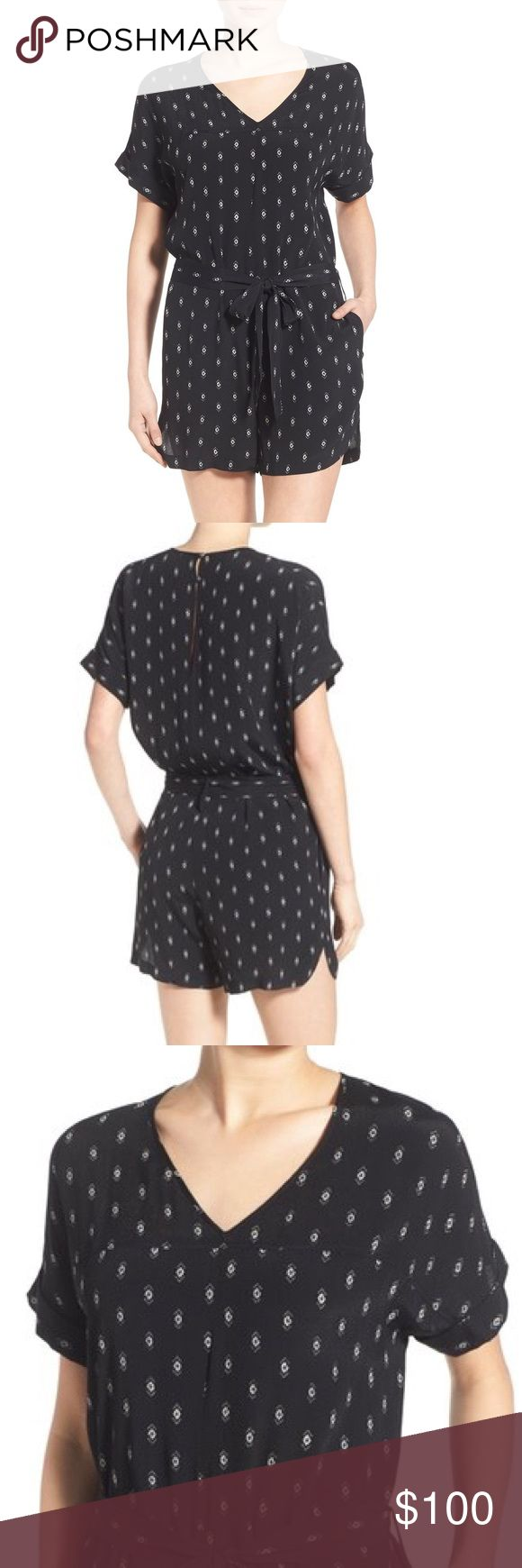 "Madewell v neck romper A dainty, global-inspired print patterns a silky V-neck romper styled with cuffed short sleeves, a waist-cinching tie belt and drapey, dolphin-hem shorts. 33"" length; 3 1/2"" inseam; 26"" leg opening (size Medium). Back keyhole with two-button closure. V-neck. Short sleeves. Tie belt. Side on-seam pockets. 100% viscose. Dry clean. By Madewell; imported. Madewell Pants Jumpsuits & Rompers"