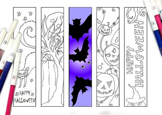 Halloween bookmarks colouring pages. Price - $2.00 USD  This printable bookmarks will make your Halloween interesting!   #Halloween #bookmarks #printable