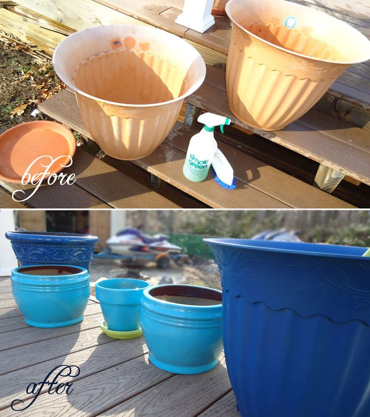Blue spray-painted plastic flower potsPainting Flower Pots, Sprays Painting, Pots Updates, Painting Pots, Cheap Flower Gardens Ideas, Paint Flowers, Gardens Outdoor, Clay Pots, Yards