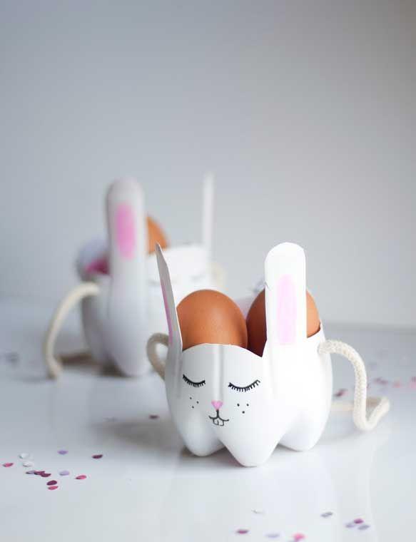 DIY panier en forme de lapin de #Paques avec des bouteilles en plastique