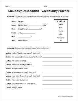 Image result for saludos y despedidas worksheet | saludos y ...