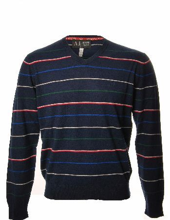 Armani Jeans Multi Striped V Neck Jumper Armani Jeans Multi Striped V Neck Jumper in a in a fine knitted cotton/wool and cashmere making the jumper have a natural stretch and extra soft the navy coloured jumper features horizontal thin strip http://www.comparestoreprices.co.uk/designer-clothing/armani-jeans-multi-striped-v-neck-jumper.asp