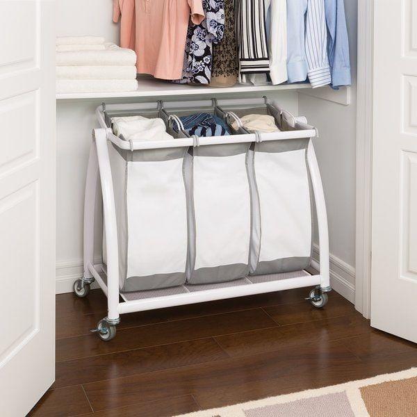 Seville Classics Snow White Polyester 3-bag Tilt Laundry Sorter | Overstock.com Shopping - The Best Deals on Hampers