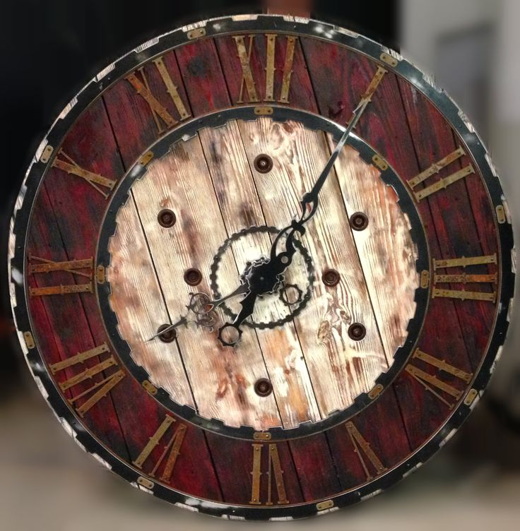 Large vintage steampunk clock six foot diameter from hex