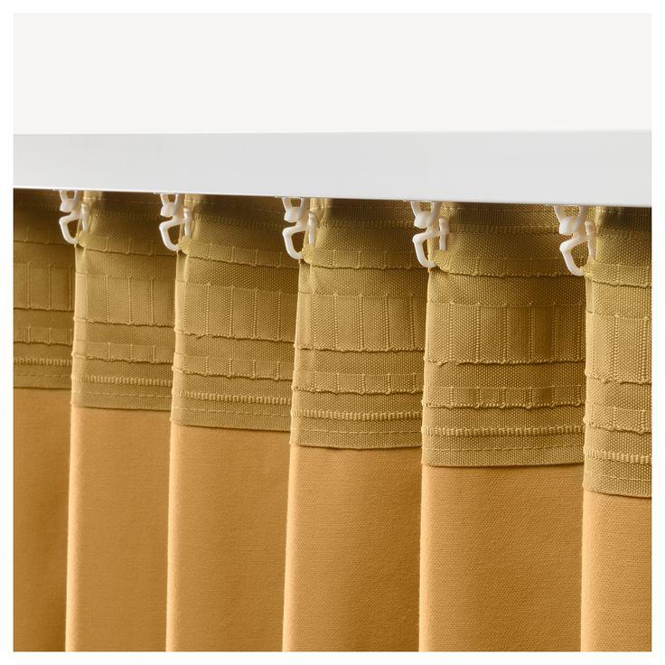 Ikea Sanela Room Darkening Curtains 1 Pair Golden Brown