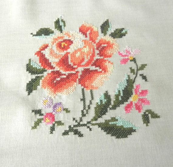 """Vintage hand embroidery tablecloth 66"""" x 50"""" UNUSED Floral 1960s cross stitching"""